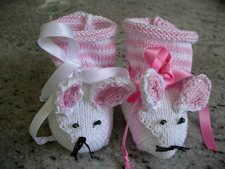 Baby, Mouse Shoes, Knit, Own Works