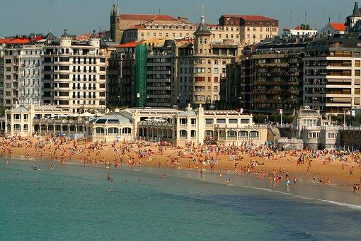 San Sebastian, Spain, La Concha, Beach, Swimmers