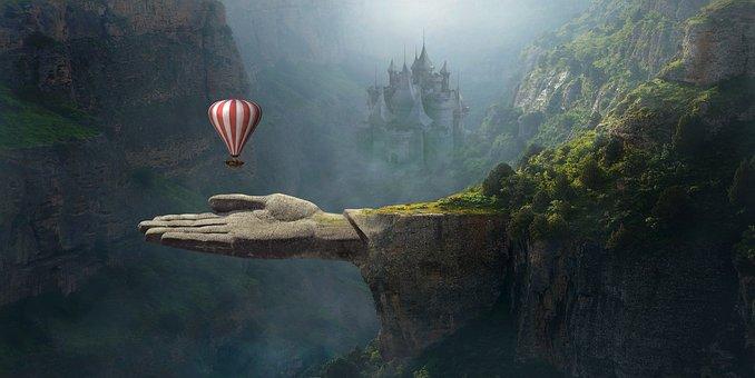 Fantasy, Landscape, Balloon, Fairytale, Composing