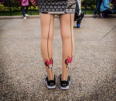 Mickey, Minnie, Legs, Tights, Skirts, Shoes, Disney