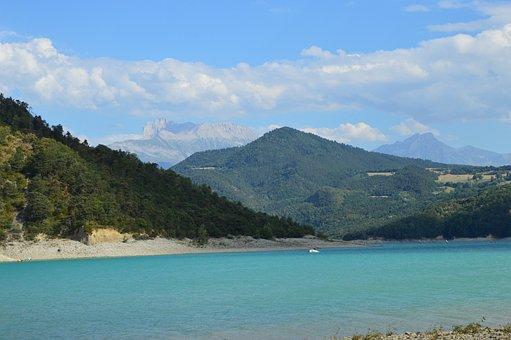 Lake, Dam, Monteynard, Isère, Mountain, Water, Nature