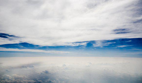 Sky, Blue, Blue Sky, Plane, Asia, Clear, Natural, Cloud