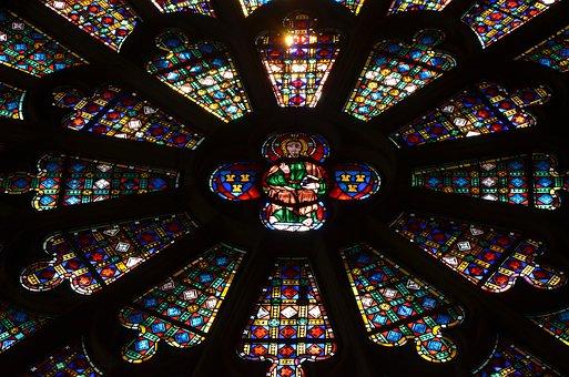 Stained Glass Windows, Cathedral, Carcasonne, Catholic