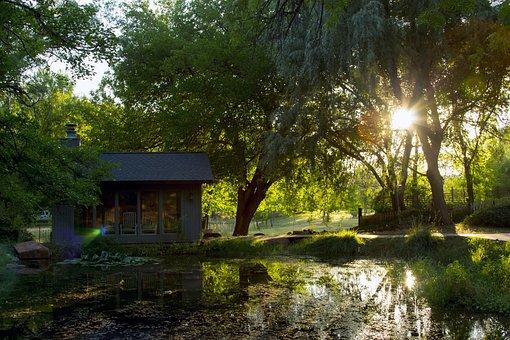 Cornville, Sunset, Water, Trees, Sun, Landscape, Sky