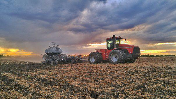 Sunset, Clouds, Tractor, Planter, Seeder, Field, Tires