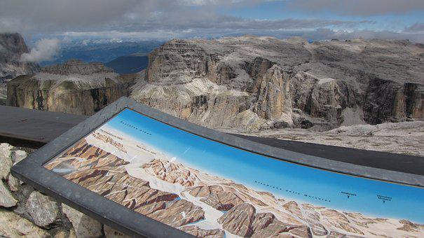 Dolomites, Sass Pordoi, Sella Ronda, Wallchart
