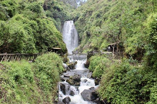 Waterfall, Peguche, Otavalo, Whitewater, Water, Cascade