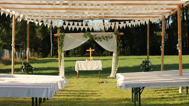 Wedding, Altar, Benches, Nature, Marry, Marriage, Love