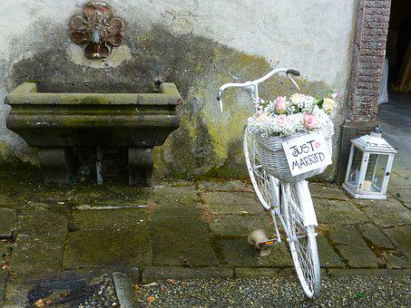 Wedding, Bike, White, Tuscany, Contradictory, Wheel