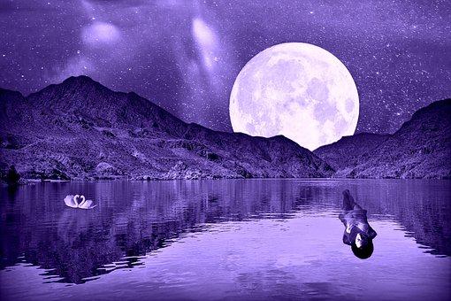 Full Moon, Star, Lake, Mountains, Woman, Woman Swimming