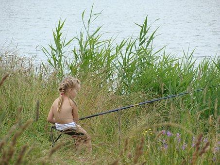 Fisherwoman, Nature, Lake, Beach, Reed, Fishing, Summer