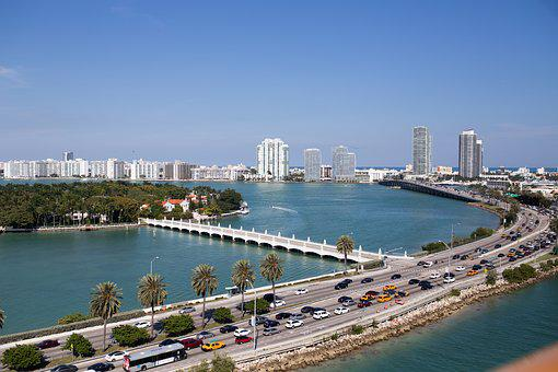 Miami, City, Traffic, Waterway, Rickenbacker, Biscayne