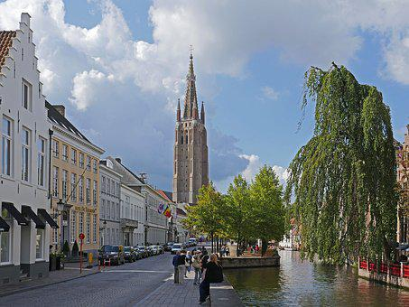 Bruges, Canal, Church Of Our Lady