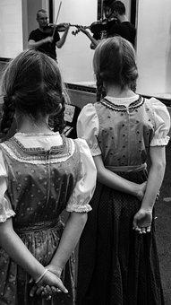 Girls, Back, Musicians, Street, Children, Spectators