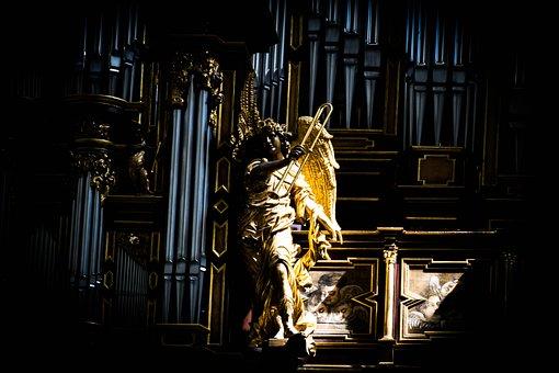 Angel, Gold, Church, Dom, Fulda, Shadow, Light