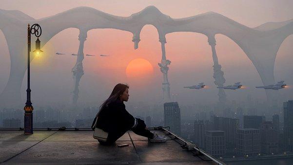Fantasy, Girl, City, Sunrise, Sunset, Atmosphere, Mood