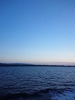 Sea, Blue, Sunset, Moon, Light Blue, Water, Wave, Cloud