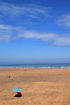 Beach, Parasol, Sea, Splash Of Color