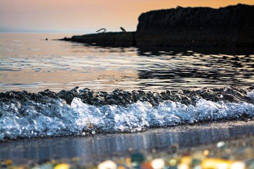 Sea, Stones, Boulders, Surf, Tidal Bore, Sand, Wave