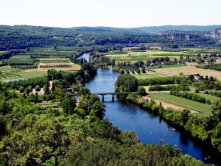 Dordogne, River, Valley, Nature, Green, Blue, Tree