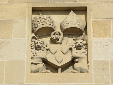 Pierre, Wall Sculpture, Cut Stones, Crest Crowns, Lions
