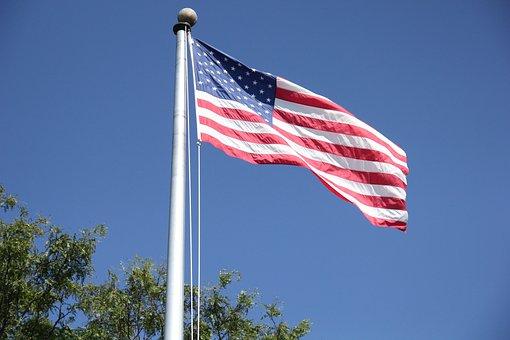 Flag, Blue Sky, America, Windy, Flagpole, Symbol