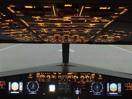 Overhead, Airbus A320, Simulator, Cockpit