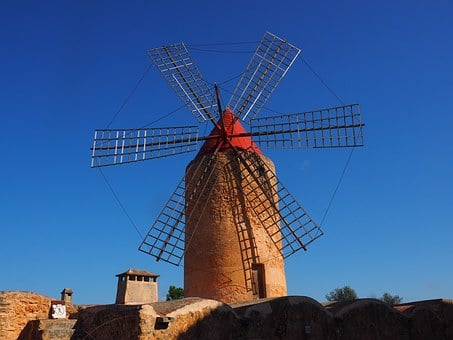 Windmill, Mill, Wind Power, Algaida, Mallorca, Landmark