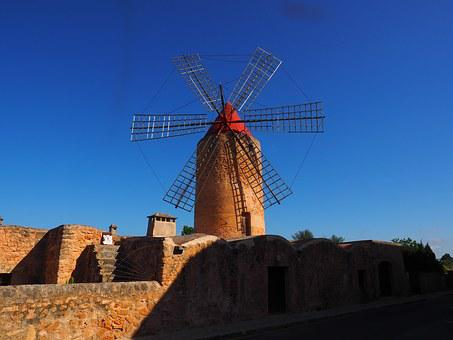 Windmill, Mill, Wind Power, Algaida, Mallorca, Landmark