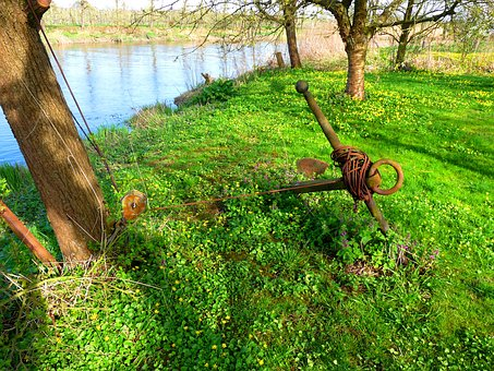Lühe, Old Country, Stainless, Anchor, Maritime, Nature