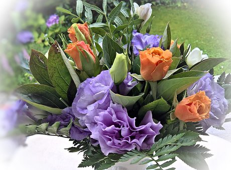 Flower Arrangement, Anemones In Violet Blue And White
