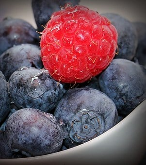 Blueberries, Raspberry, Fruits, Fruit, Vitamins, Blue