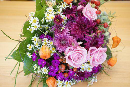 Bloom, Flowers, Bouquet Of Flowers, Pink, Roses, Astras