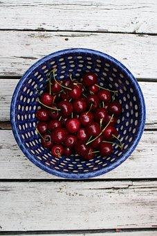 Cherries, Bowl, Red, Blue, White, Fruits, Fruit