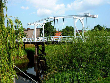 Lühe, Old Country, Bridge, Building, Nature, Mood