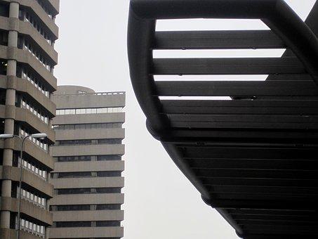 Building, Grey, Towering, Platform, Overhead, Slats