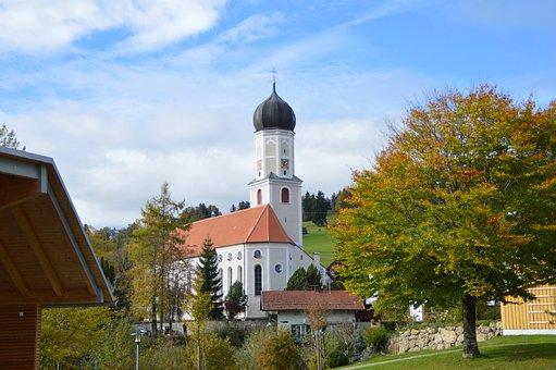 Church, Autumn, Blue Sky, Onion Dome, Allgäu
