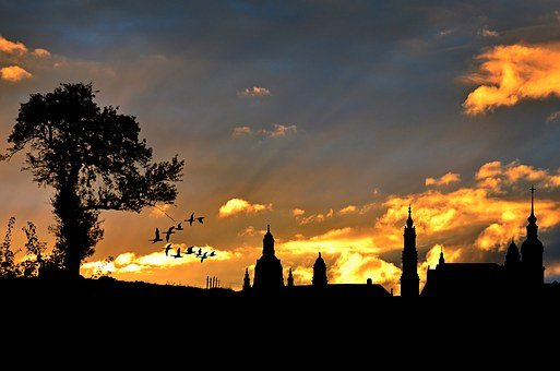 City View, Evening Sky, Silhouette, Architecture