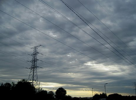 Sky, Clouds, Low, Dark, Light Break, Overhead Cables