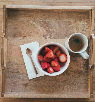 Breakfast, Tray, Strawberries, Cup, Morning, Coffee