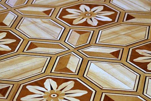 Fancy, Floor, Decorated With, Wooden, Designs, Bronze