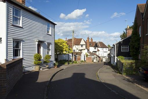 English Village Street Scene, Eclectic Architecture