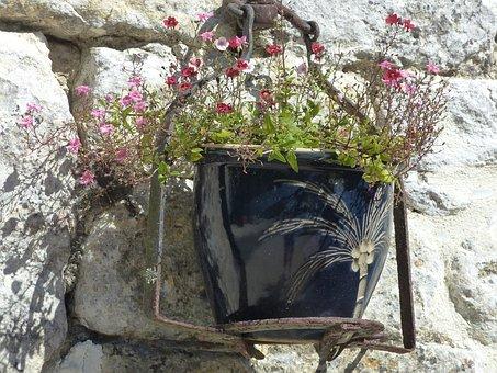 Garden, Lot, Flowers, Pot, Wall, Decor, Outdoor