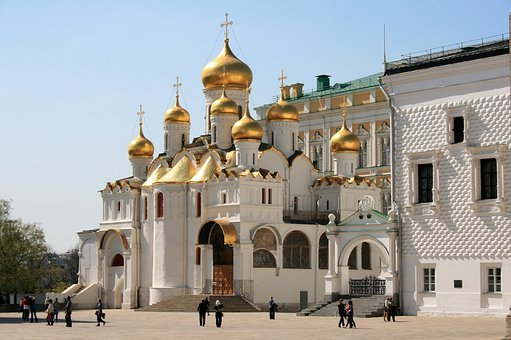 Cathedral, Church, White, Building, Golden Domes