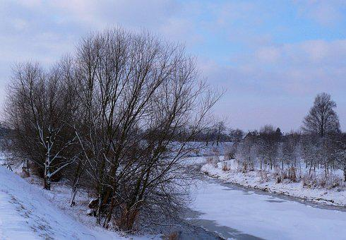 Lühe, Winter, Mood, Old Country, Ice, Snow, Cold