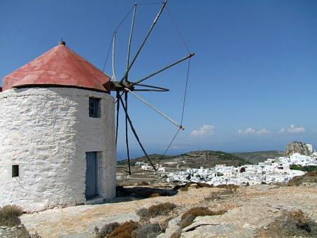 Mill, Old, Island, Greece Amorgos, Island City, White