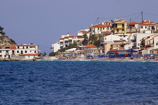 Samos, Greece, Island, Sea, Water, Beach, Sun, Sky