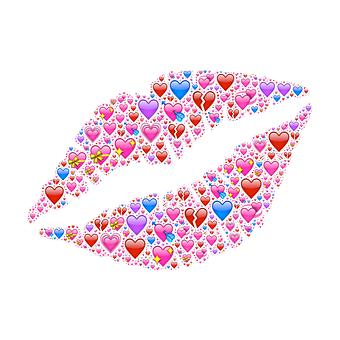 Lips, Red, Hearts, Emojis, Love, Passion, Lipstick