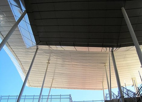 Construction, Roof, Overhead, Poles, Upright, Metal