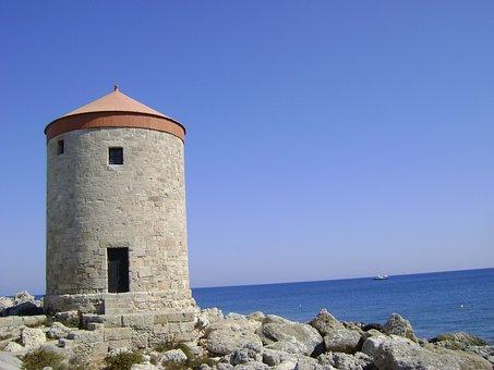 Rhodes, Flour Mill, Mill, Island, Architecture